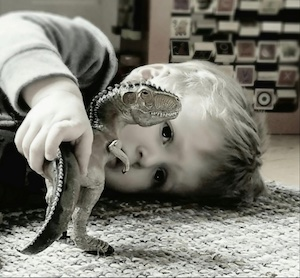 Child playing with a toy dinosaur